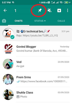 Whatsapp Chat Ko Top Par kaise Pin kare In Hindi